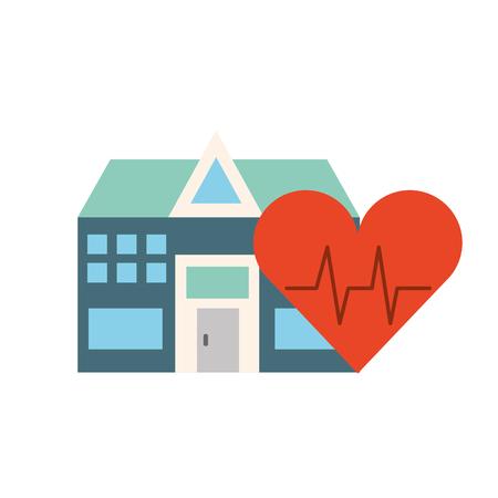 Ilustración de vector de atención médica de frecuencia cardíaca del edificio del hospital Ilustración de vector