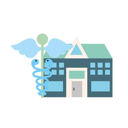 caduceus hospital building healthcare medicine vector illustration