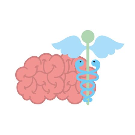 mental brain human care caduceus vector illustration