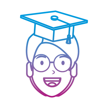 young man student head with hat graduation vector illustration design