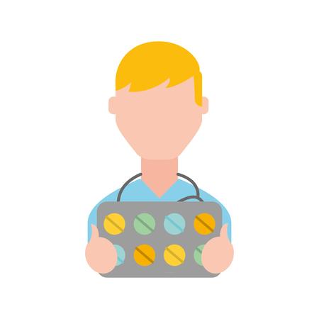 man character holding packaging pills prescription vector illustration