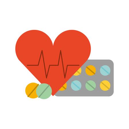 Ilustración de vector de pastillas médicas y latidos del corazón