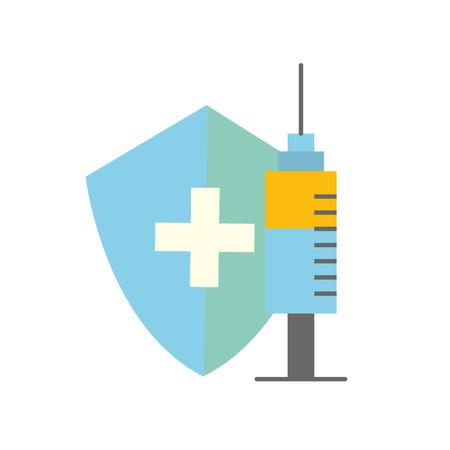 protection du bouclier médical et illustration vectorielle de seringue soins