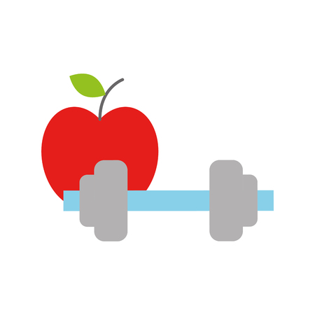 healthcare lifestyle weight barbell and apple vector illustration Stok Fotoğraf - 110242129