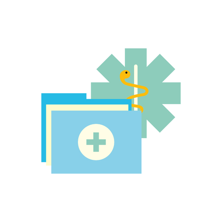 caduceus medical folder report documents vector illustration Ilustração