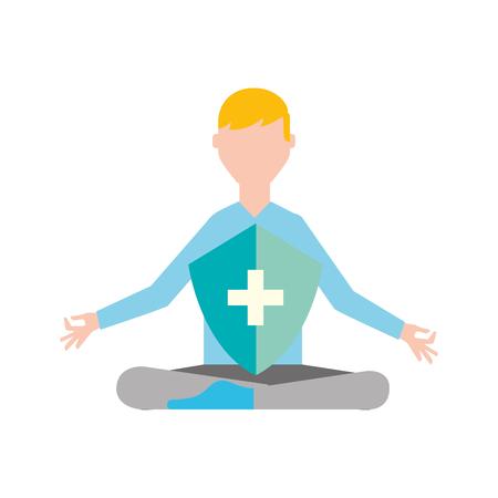 man in meditation shield protection medical vector illustration