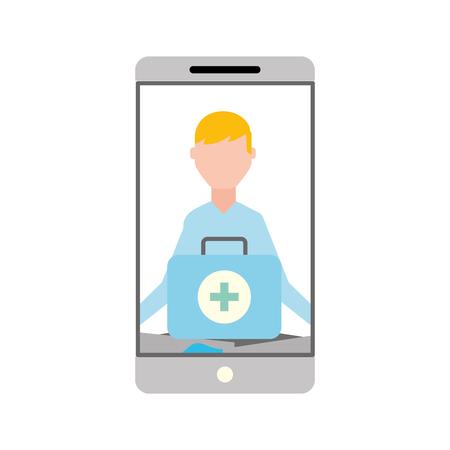 smartphone man meditation medical app vector illustration