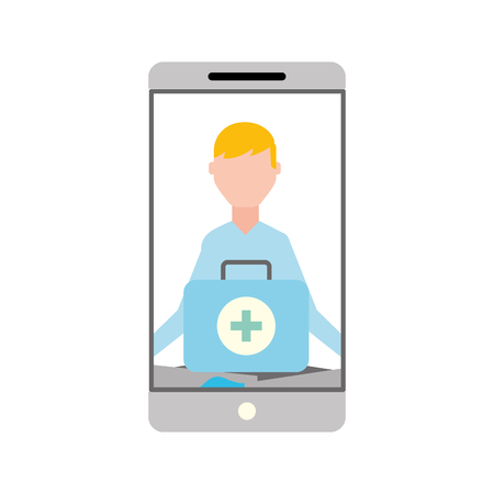 smartphone man meditation medical app vector illustration Illustration