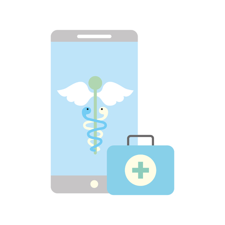 smartphone caduceus medical first aid app vector illustration