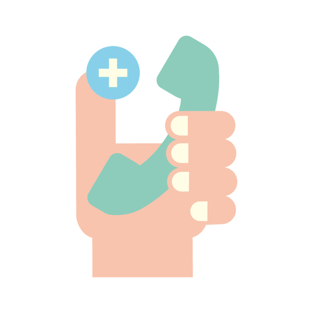hand holding telephone medical service vector illustration Banque d'images - 110242163