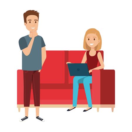 giovane donna al divano con laptop e compagni illustrazione vettoriale