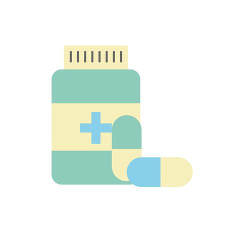 bottle capsule pharmacy medical prescription vector illustration