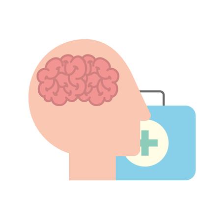 profilo testa umana cervello valigia aiuto medico illustrazione vettoriale Vettoriali