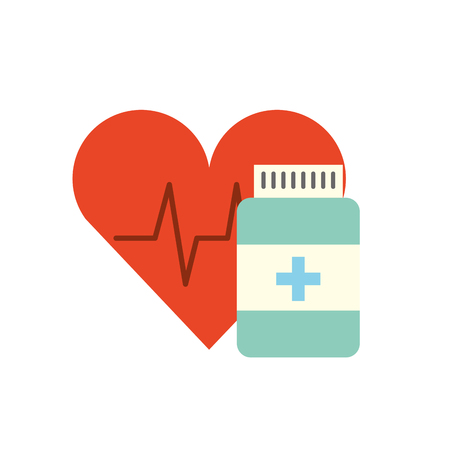 medication pharmacy bottle pills heart care vector illustration
