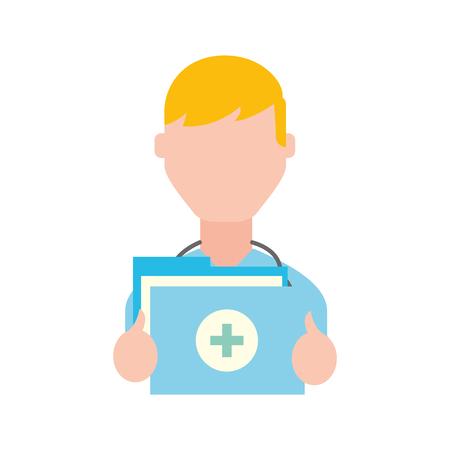 doctor professional folder file medical document vector illustration