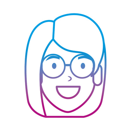 beautiful woman with glasses head character vector illustration design Ilustracja