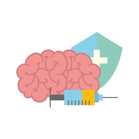 human brain syringe and shield protection medical vector illustration