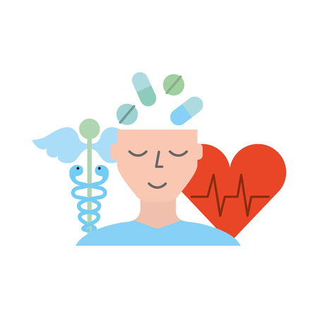 human profile pills mental heartbeat caduceus vector illustration