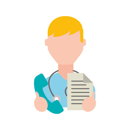 doctor professional holding telephone and paper vector illustration