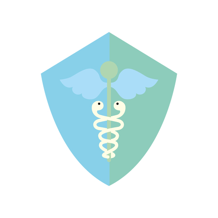 caduceus shield medical healthcare symbol vector illustration