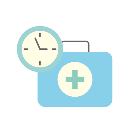 medical suitcase first aid emergency time clock vector illustration Çizim