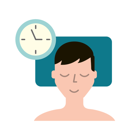 man sleeping on the bed clock time vector illustration Иллюстрация