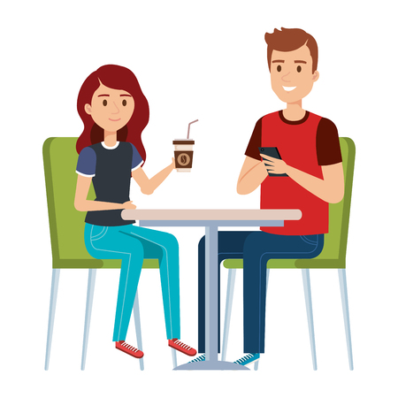 young couple in the cafeteria vector illustration design