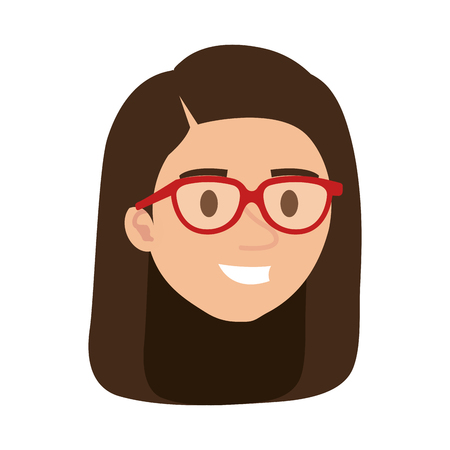 beautiful woman with glasses head character vector illustration design Illustration