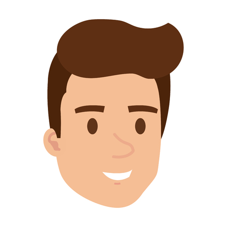 young man head character vector illustration design