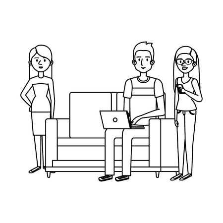 young man on the sofa with laptop and girls vector illustration design 일러스트