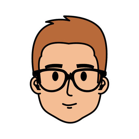young man with glasses head character vector illustration design