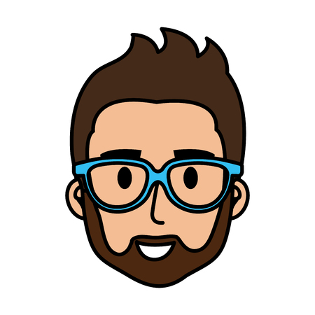 young man with glasses and beard head vector illustration design 向量圖像