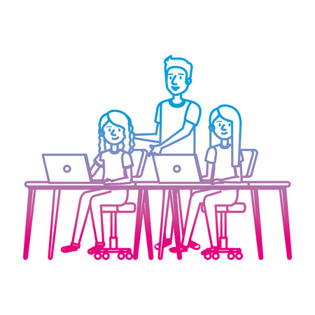 young women at desk with laptop and companion vector illustration Illusztráció