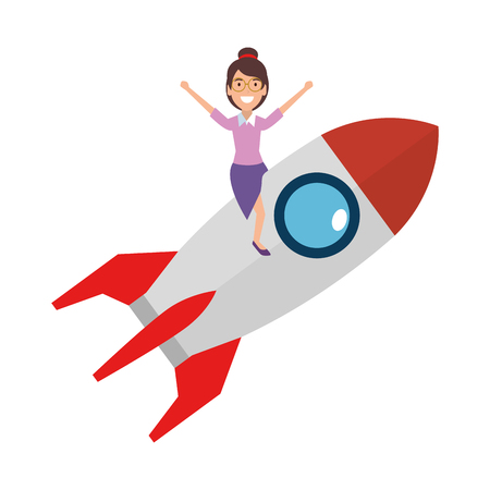young woman on rocket startup vector illustration design 向量圖像