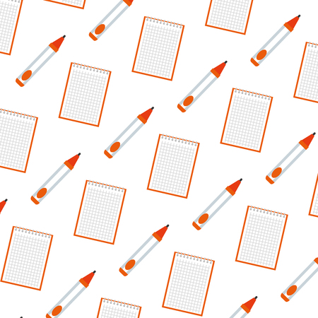 notebook school with pen pattern vector illustration design