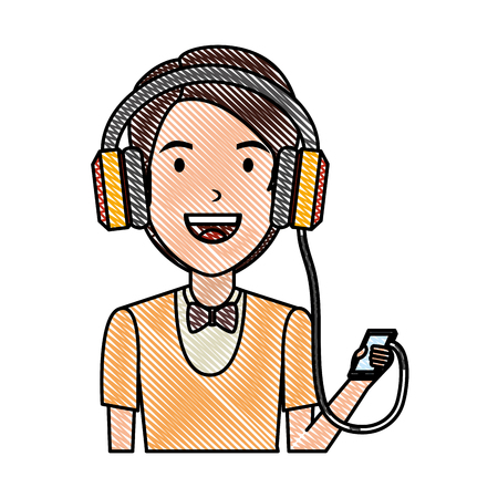 young man with smartphone and earphones vector illustration design