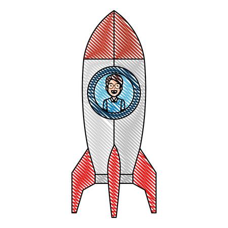 young man in rocket startup vector illustration design