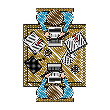 business teamwork in the office aerial view vector illustration design  イラスト・ベクター素材