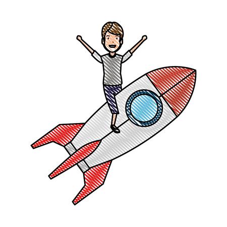 young man on rocket startup vector illustration design Ilustração