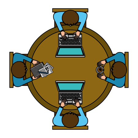 teamwork with laptop in the office aerial view vector illustration design