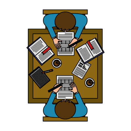 business teamwork in the office aerial view vector illustration design Çizim