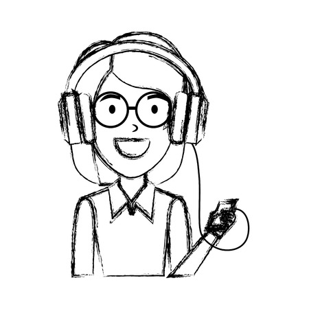 beautiful woman with glasses and earphones vector illustration design