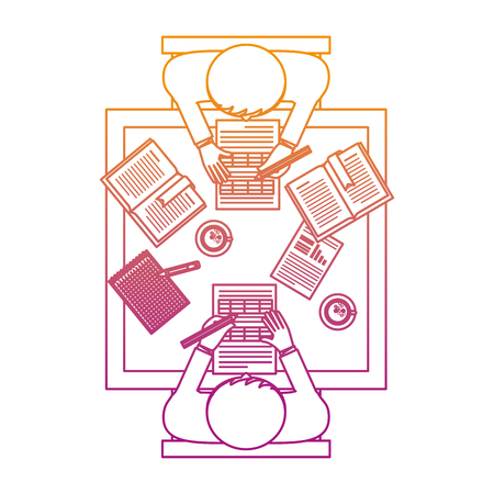 business teamwork in the office aerial view vector illustration design