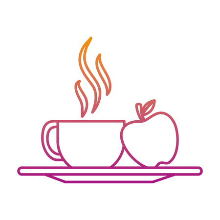 coffee cup with apple fruit vector illustration design 일러스트