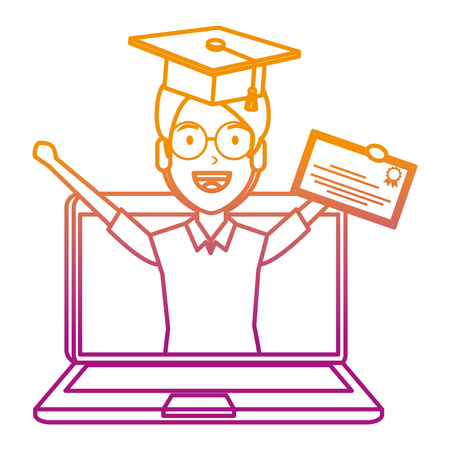 laptop with man student and graduation diploma vector illustration