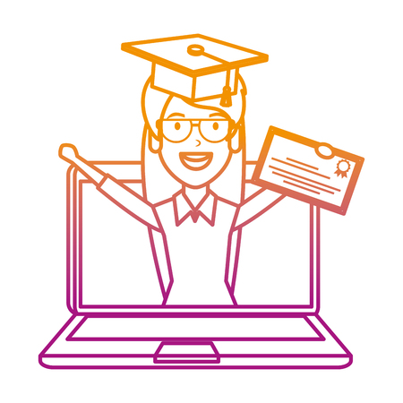 laptop with woman student and graduation diploma vector illustration