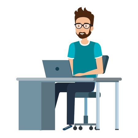 young man at desk with laptop vector illustration design