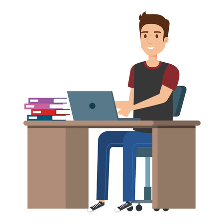 young man at desk with laptop and books vector illustration design