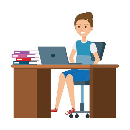 young woman at desk with laptop and books vector illustration design