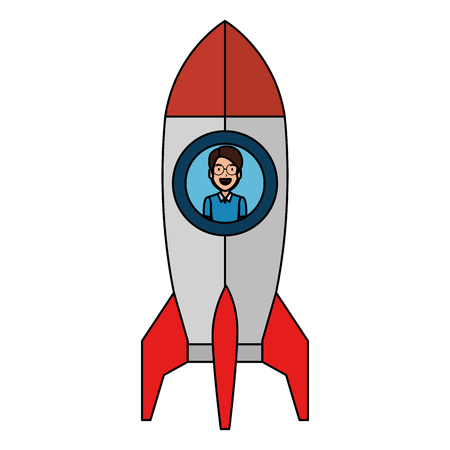 young man in rocket startup vector illustration design